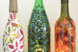 Upcycled bottle - painting